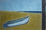 Boat on the Beach by Richard Burt, Painting, Oil and Acrylic on Canvas
