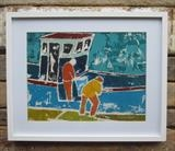 Crab Fishermen by Richard Burt, Painting, Acrylic on paper