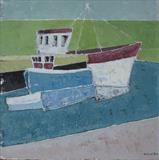 Salcombe Fish Quay II by Richard Burt, Painting, Oil and Acrylic on Canvas
